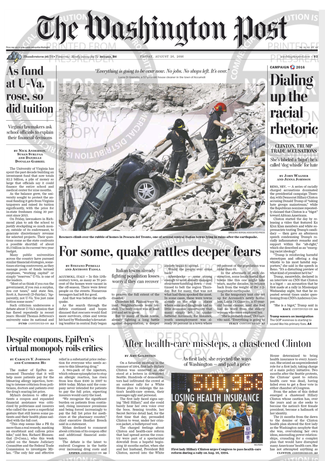 TWP FRONT PAGE - Amatrice 2
